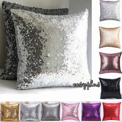 Mermaid Pillow Cover Glitter Sequins Cases Home Car Sofa Cushion Covers Pink