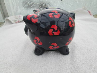 Vintage Natwest Piggy Bank Deep Blue with Red Logos