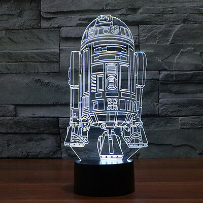 Star Wars R2D2 3D LED Night Light With 7 Changeable Colours and Remote Control