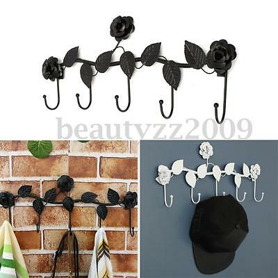 Vintage ROSE Iron Wall Hooks Clothes Robe Key Holder Hat Hangers Home Decoration