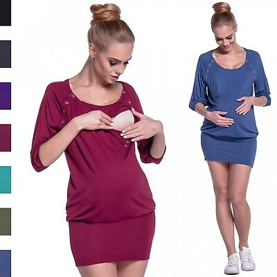 Happy Mama. Women's Nursing Baggy Tunic Mini Dress Scoop Neck Maternity. 204p