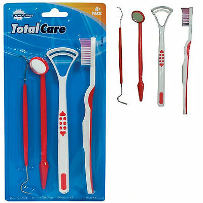Oral Dental Kit ToothBrush Scrapper Tongue Mirror Pick Plaque Floss Stain Remove