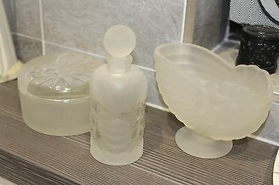 Art Deco Walther Sohne vanity set- white Frosted Glass Shell, pot and bottle