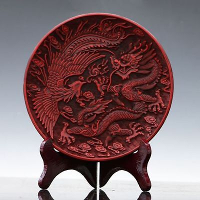Oriental Vintage Delicate Lacquer Hand-carved Dragon & Phoenix Plate