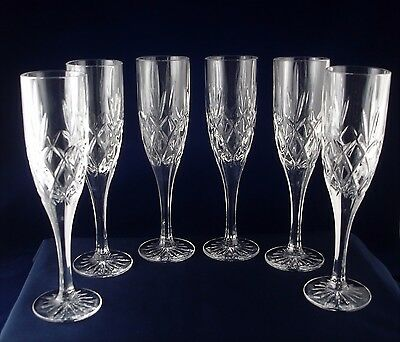 6 Stunning Heavy Crystal Champagne Flutes ( Possibly Royal Doulton ?? )