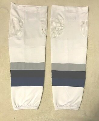 "Ice Hockey Socks White With Sports Mesh - Size Youth 22"" - New"