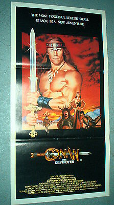 CONAN THE DESTROYER Rare AUS Original CINEMA DAYBILL MOVIE POSTER Schwarzenegger