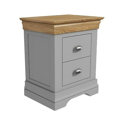 Grey Bedside Table Oak Top 2 Drawer Solid Wood Storage Cabinet Bedroom Furniture