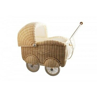 New German Classic Cane Heirloom Doll Pram Carriage Wicker Basket Blonde