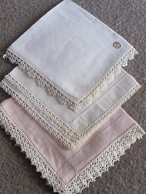 Vintage Antique Hankie Handkerchief Drawn Thread CROCHET Lace LOT Linen ESTATE