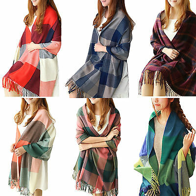 Women Lady Pashmina Winter Warm Tartan Check Neck Shawl Scarf Wrap Stole Plaid