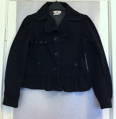 Girls Black Frill Style Button Up Jacket In Age 11-12 Years Old