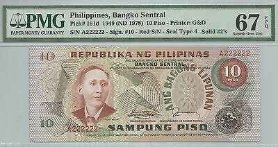 [prefix A & solid A222222] Philippines 1978 10 piso p161d red serial PMG 67 EPQ