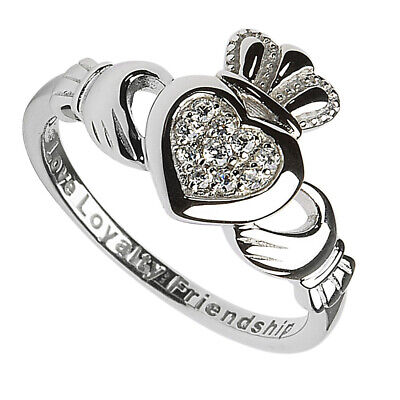 Hallmarked Sterling Silver Claddagh Ring With White Cubic Zirconia Stone design