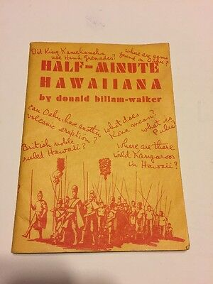 RARE 1942 Book Half-Minute Hawaiiana Donald Billam-Walker Hawaii WWII Era EC