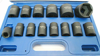 """14pc 1/2"""" Dr Shallow Impact Socket Set 10-32mm Six point Hex By Bergen 1323"""