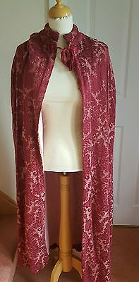 Long Length Red Wine Brocade Medieval Cloak Stage Pantomime
