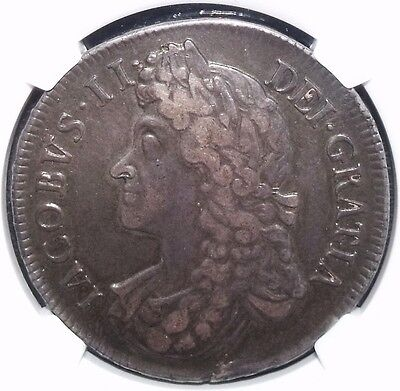 1688/7 James Ii Silver Crown Rare Example Certified Ngc