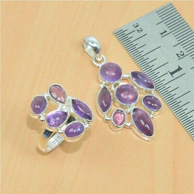 Wholesale 2Pc Mix 925 Solid Sterling Silver Natural Amethyst Pendant-Ring Lot