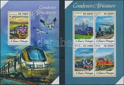 Sao Tomé e Príncipe stamp South African trains minisheet+block 2013 MNH WS217427