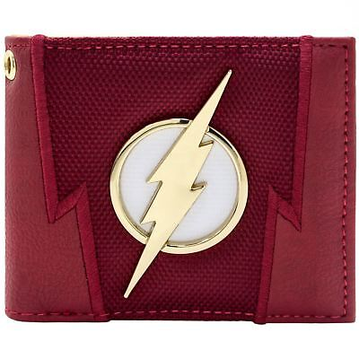 New Official Dc Flash Lightning Badge Suit Up Red Id & Card Bi-Fold Wallet