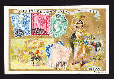Liebig Advertising Trade card depicting QVR era Ceylon Ceylan stamps in design