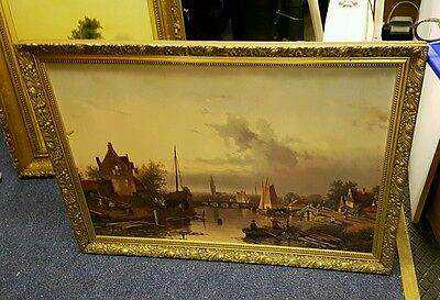 Very nice old antique picture, river, boats, Bridge, lovely detailed frame