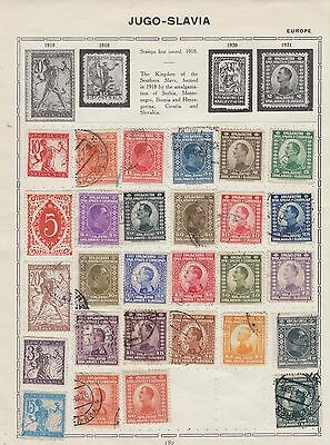 Ls192  Early Stamps From Yugoslavia On Old Album Sheet
