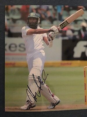 Hashim Amla South Africa test cricketer hand signed 10x8 inch photograph