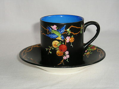 Crown Ducal art deco coffee can and saucer bluebird and orange tree (1 of 2)