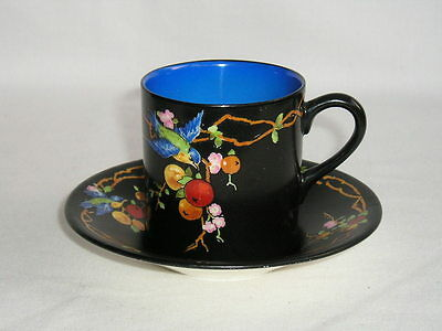 Crown Ducal art deco coffee can and saucer bluebird and orange tree (2 of 2)
