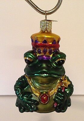 """Bull Frog Ornament Old World Collection Collector Amphibian 3-1/2"""" T"""