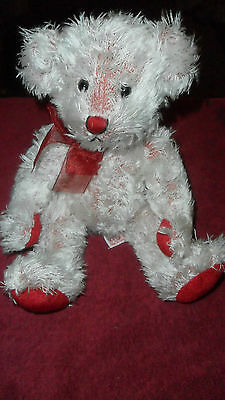 Russ Berrie Cagney Red & White Teddy Bear Soft Cuddly Plush Toy Free Uk P&p