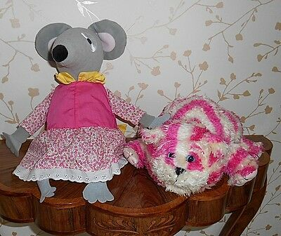 """Bagpuss 15"""" Long+Lizzie The Organ Mouse 12"""" Appx-From Tv Series 2 Soft Toys Vgc"""
