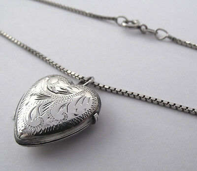 Vintage Solid Silver Love Heart Locket And Silver 18 Inch Chain