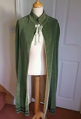 Long Length Green Velvet Fully Lined Medieval Cloak Stage Pantomime