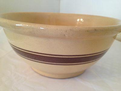"Vintage Rrp, Roseville  9 1/2"" Mixing Bowl With 3  Brown Stripes~Yellow Ware"