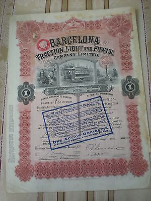 Spanien -   Barcelona Traction , Light and Power Co.  1  Share  1913  Ü  6/8