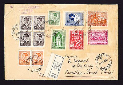 Yugoslavia registered cover Zagreb to France POOR CONDITION sellotape on stamps