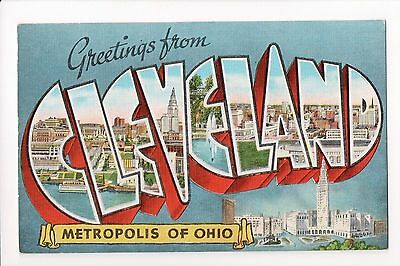 OH, Cleveland - Greetings from, Large Letter postcard - B08269