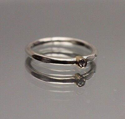 Authentic Retired Pandora Morning Star Diam. Ring Silver 14k Gold - Size 7.25