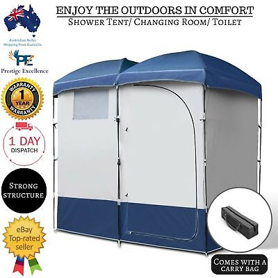 Camping Shower Toilet Tent Double Pop Up Tent Outdoor Portable Change Room w Bag