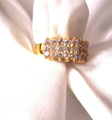 Gorgeous Rhinestone Goldtone Size 6 Band Ring Vintage Estate Excellent Condition