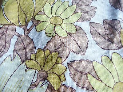 "VINTAGE 1970s FURNISHING FABRIC / PAIR OF CURTAIN YELLOW BROWN  44"" x 44"""