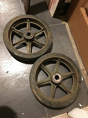 """Vintage Set Of 2 Large Factory Cart 12"""" Wheel Cast Iron And Rubber Steampunk"""
