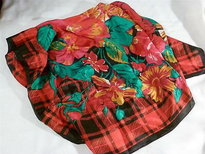 Vintage Runway Ruby Red Floral Silk 28 Inch Square Scarf, Beautiful!