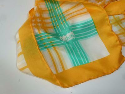 Vintage Echo Yellow, Green, and White 26 inch Square Hand Rolled Scarf
