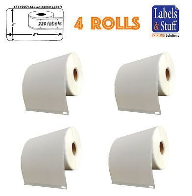 4 Rolls of 220 4x6 Shipping Postage Labels 1744907 compatible For DYMO® 4XL