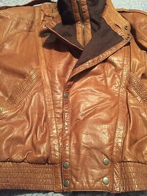 Vtg Brown I O U Men's Leather Bomber Style XL Motorcycle Jacket