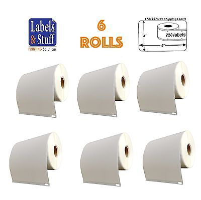 6 Rolls of 220 4x6 Shipping Postage Labels 1744907 compatible For DYMO® 4XL